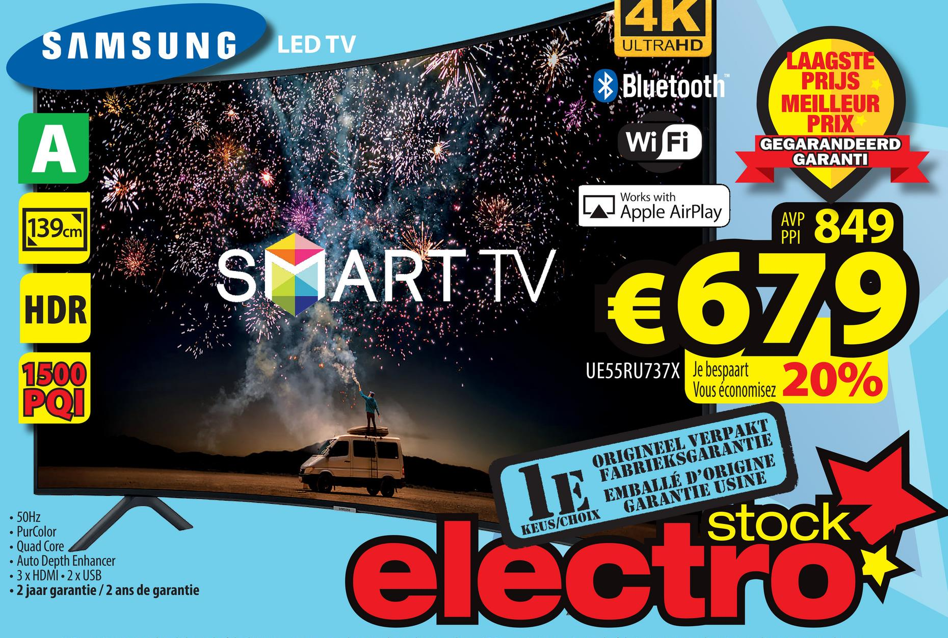 SAMSUNG LED TV 1 ULTRAHD 4K * Bluetooth WiFi LAAGSTE PRIJS MEILLEUR PRIX GEGARANDEERD GARANTI Works with LA Apple AirPlay 139cm I AWP 849 SMART TV € 679 HDR 1500 POI UE55RU737X Je bespaart Vous économisez ORIGINEEL VERPAKT FABRIEKSGARANTIE EMBALLÉ D'ORIGINE KEUS/CHOIX GARANTIE USINE stock . 50Hz • PurColor • Quad Core • Auto Depth Enhancer • 3 x HDMI 2 x USB • 2 jaar garantie/2 ans de garantie electrooks
