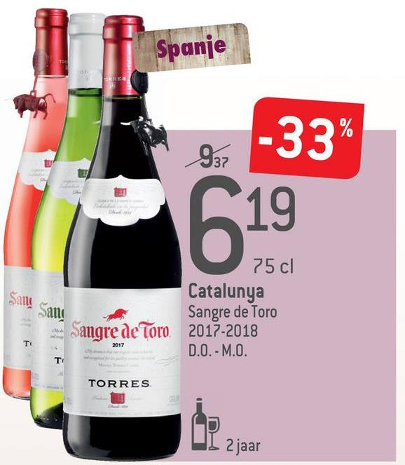 Spanje 997 -33% 75 cl Catalunya Sangre de Toro 2017-2018 D.O.-M.O. 10M TORRES I 2 jaar