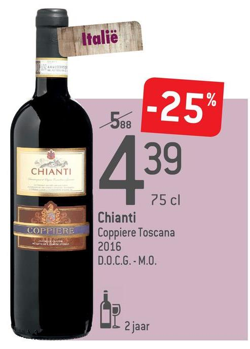 Italië -25% 39 CHIANTI COPPIERE 75 cl Chianti Coppiere Toscana 2016 D.O.C.G.-M.O. UI 2 jaar