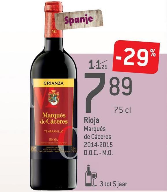 Spanje 1121 CRIANZA Marqués de Cáceres TEMPRANILLO 75 cl Rioja Marqués de Cáceres 2014-2015 D.O.C. - M.O. RIOJA EBOLLO de CINCESS 3 tot 5 jaar