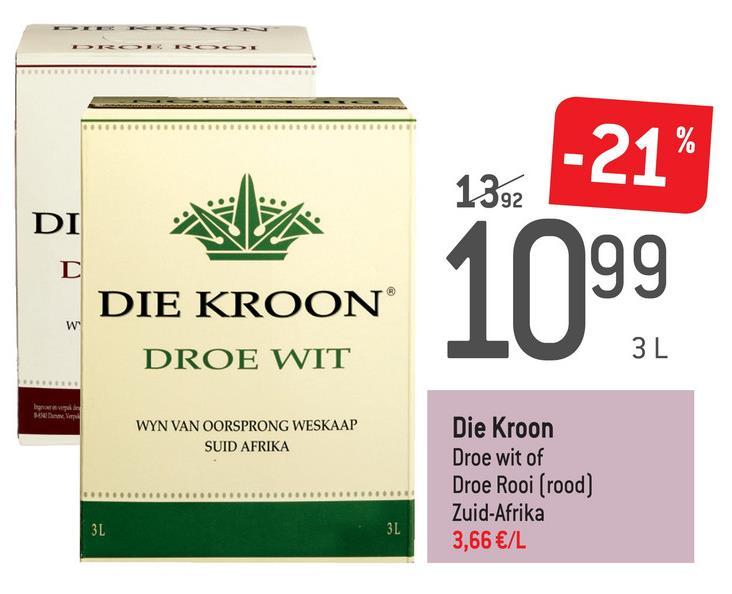 """92 DI -21"""" 1999 DIE KROON® DROE WIT shop WYN VAN OORSPRONG WESKAAP SUID AFRIKA Die Kroon Droe wit of Droe Rooi (rood) Zuid-Afrika 3,66 €/L"""