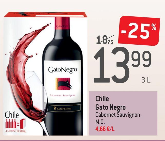 1875 -25% GatoNegro 1399 Cabernet Sauvignon S SAN PEDRO Chile Chile Gato Negro Cabernet Sauvignon M.O. 4,66 €/L 3 Liters 13.5%vol.