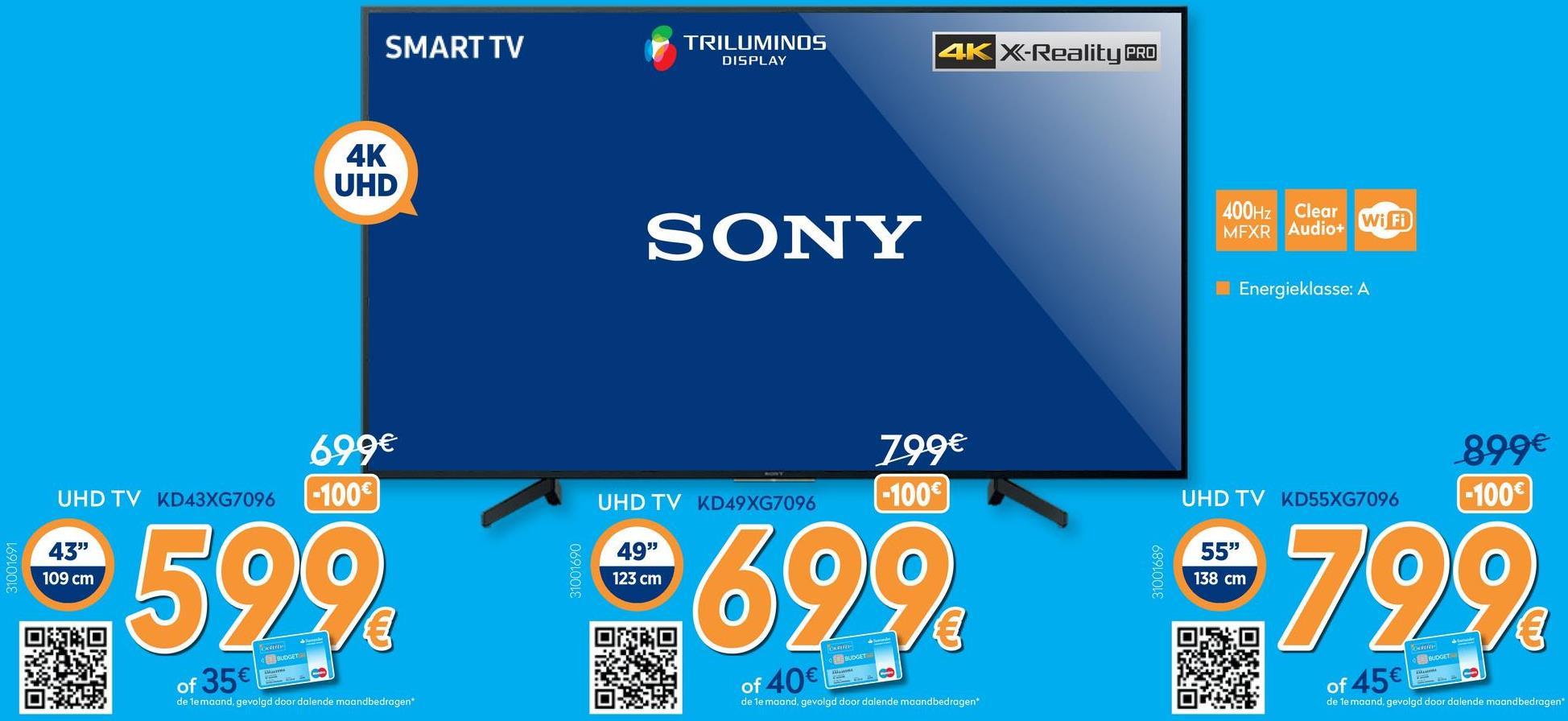TV KD-43XG7096 - 43 inch  <strong>Beleef alle details dankzij 4K X-Reality™ PRO</strong><br> Met 4K X-Reality™ PRO wordt elk beeld verbeterd om ware 4K-kwaliteit te benaderen, voor buitengewone helderheid. Beelden worden in realtime scherper en gedetailleerder gemaakt voor nog meer detail in elk onderdeel en de opbouw van het beeld.        <strong>TRILUMINOS™-display: Extra kleuren, extra helderheid</strong><br> Zie overal om u heen levendige en levensechte kleuren. Een TRILUMINOS™-display gebruikt een breder palet en geeft elke schakering en tint in de paraplu's natuurgetrouw weer.    <strong>Meteen online met de speciale YouTube™-knop</strong><br> Ga rechtstreeks naar YouTube en geniet van uw favoriete video's. Bladeren en clips kijken op deze Sony led-tv gaat sneller een eenvoudiger dan ooit dankzij de YouTube-knop op de afstandsbediening.    <strong>Kabels zijn netjes weggewerkt</strong><br> De kabels zitten verborgen in de standaard en worden op hun plaats gehouden door een meegeleverde kabelbinder.    <strong>Een slimmere manier om uw smartphone te gebruiken</strong><br> Zet uw favoriete content op uw smartphone of USB-stick en ervaar die met prachtige details op uw grote tv-scherm. Met Smart Plug &amp; Play kunt u eenvoudig video's, foto's en muziek delen vanaf meerdere apparaten.    <strong>Gemaakt om te luisteren: ClearAudio+</strong><br> Geniet van levensecht beeld en geluid. ClearAudio+ stemt het tv-geluid af voor een ongekend overweldigende geluidservaring die u lijkt te omringen. Luister naar muziek en dialogen met meer helderheid en details, wat u ook kijkt.    <strong>Motionflow™ XR houdt de actie soepel gaande</strong><br> Geniet van vloeiende en scherpe details, zelfs bij snel bewegende beelden met Motionflow™ XR. Deze innovatieve technologie maakt extra frames en voegt deze toe tussen de originele beelden. Belangrijke visuele factoren in opeenvolgende frames worden met elkaar vergeleken, waarna het onderdeel van een seconde dat ontbreekt in de acti