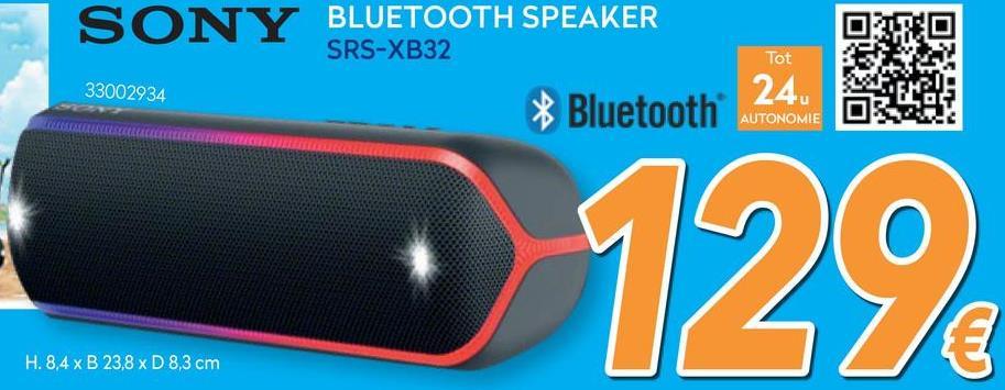 SRS-XB32 Bluetooth Speaker - Zwart  <strong>Neem het festival mee</strong><br> Geniet van groots partygeluid alsof je er live bij bent, dans op flitsende verlichting en geniet waar je ook bent. Alles met één gemakkelijk draagbare speaker. Neem hem gewoon mee en blijf doorgaan, waar het feest ook is.        <strong>Boost je feestnummers met EXTRA BASS™️</strong><br> Het feest kan beginnen met jouw EXTRA BASS™-speaker. Twee luidsprekers met volledig bereik met twee passieve radiatoren zorgen voor mooie lage tonen en beter basgeluid.        <strong>Ervaar de muziek alsof je er live bij bent</strong><br> Druk op de LIVE SOUND-knop en hoor je muziek op een geheel nieuwe manier. Breng je feest tot leven met een unieke driedimensionale geluidservaring en creëer festivalvibes, waar je ook bent.        <strong>Hoe de LIVE SOUND-modus werkt</strong><br> De speakers van de SRS-XB32 zijn met zorg ontworpen voor een echte driedimensionale ervaring. De hoekige speakers met de nieuwe DSP-technologie verspreiden je muziek breder, zodat je overal waar je wil een echte festivalvibe creëert.        <strong>Til je feest naar een hoger niveau</strong><br> De speaker beschikt over twee luidsprekers van 42mm, wat zorgt voor een echt stereo-geluid. Een luidspreker van 42 mm betekent een krachtig geluid en diepe bas.        <strong>Superklein, groots in plezier</strong><br> De compacte SRS-XB32 past gemakkelijk in je tas, waardoor je jouw feest overal mee naartoe kunt nemen.        <strong>Verlicht je feest met pulserende kleuren</strong><br> Zonder feestverlichting geen plezier. De SRS-XB32 heeft knipperende draadverlichting die synchroon loopt met de muziek.        <strong>Geef je feest een extra boost met Party Booster</strong><br> Wanneer de speaker is geactiveerd, tik je eenvoudigweg op verschillende plaatsen op je speaker om diverse geluiden te maken, zoals een scratch, snare, kick-drum en cowbell. Regel het volume met kracht, tik zachtjes voor een zacht geluid of geef hem een flinke 