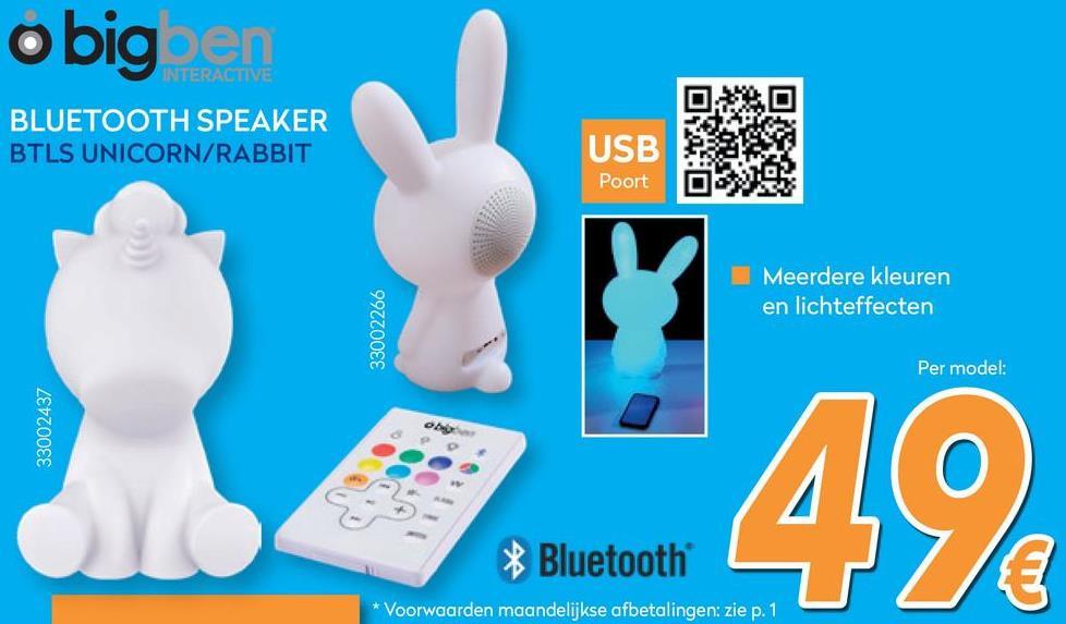 Eenhoorn Bluetooth Speaker - Wit met LED lights  <strong>Ideaal cadeau of toch gewoon voor jezelf?</strong><br> Deze opvallende speaker lijkt op het eerste gezicht misschien niet direct op een apparaat waarmee je naar je favoriete muziek kunt luisteren. Sterker nog, met z'n design in de vorm van een eenhoorn, zie je het misschien eerder als lamp dan als draadloze bluetooth speaker. Ook dan zit je er niet ver vandaan, deze opvallende eenhoorn is namelijk een draadloze bluetooth speaker met verlichting!<br> <br> <strong>Opvallende draadloze bluetooth speaker</strong><br> Draadloos muziek streamen via bluetooth met een bereik tot tien meter: dat is wat je krijgt met deze draadloze bluetooth speaker van Bigben. Het opvallende design trekt de aandacht of de speaker nou aan of uit staat. Je streamt muziek vanaf je telefoon of tablet via een snelle bluetooth verbinding, USB-aansluiting of AUX-ingang. De LED verlichting kun je met één simpele druk op de knop aanzetten of veranderen met de bijgeleverde afstandsbediening. De draadloze bluetooth speaker kan wisselen tussen maar liefst negen verschillende kleuren en is zelfs te koppelen aan het ritme van de muziek, zodat je een echte disco kunt creëren. Wil je liever iets rustigers? Dan kun je gewoon voor één kleur kiezen. Met een output van 15 watt, kun je er in ieder geval vanuit gaan dat de geluidskwaliteit prima is!<br> <br> <strong>Draadloos je favoriete muziek streamen</strong><br> Omdat de toffe speaker draadloos is, heb je de mogelijkheid om overal muziek af te spelen. De speaker beschikt over een sterke bluetooth connectie waardoor je binnen een mum van tijd elk device met bluetooth aan deze draadloze speaker kunt koppelen. En met een bereik tot maar liefst 10 meter kun je gerust wat afstand nemen tot de speaker. De draadloze bluetooth speaker werkt met een oplaadbare lithiumbatterij die maximaal acht uur meegaat. Genoeg tijd om heerlijk van je muziek te kunnen genieten! En is de batterij toch leeg? Je kunt 'm gemakkel