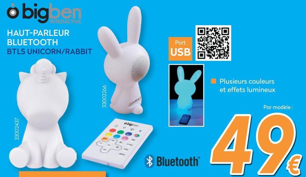 Licorne Enceinte Bluetooth - Blanc avec LED lights  <strong>Mignonne et fun</strong><br> L'enceinte sans fil Lumin'Us de BIGBEN est un objet aussi amusant que pratique. Petite, elle peut se poser n'importe où et vous suivre partout. Sa forme de licorne en fait un objet mignon, parfait pour les enfants. Elle est aussi lumineuse : ses 9 couleurs et ses différents effets lumineux peuvent assurer l'ambiance ou transformer l'enceinte en petite veilleuse.        <strong>Puissante et autonome</strong><br> Mais c'est avant tout une enceinte performante. Avec sa puissance de 15 watts et son autonomie de 8 heures, elle sait se faire entendre longtemps et dans n'importe quelle pièce. Surtout, elle s'utilise sans fil. La technologie Bluetooth vous permet de la connecter facilement à votre smartphone, votre ordinateur, votre tablette ou n'importe quel appareil compatible.
