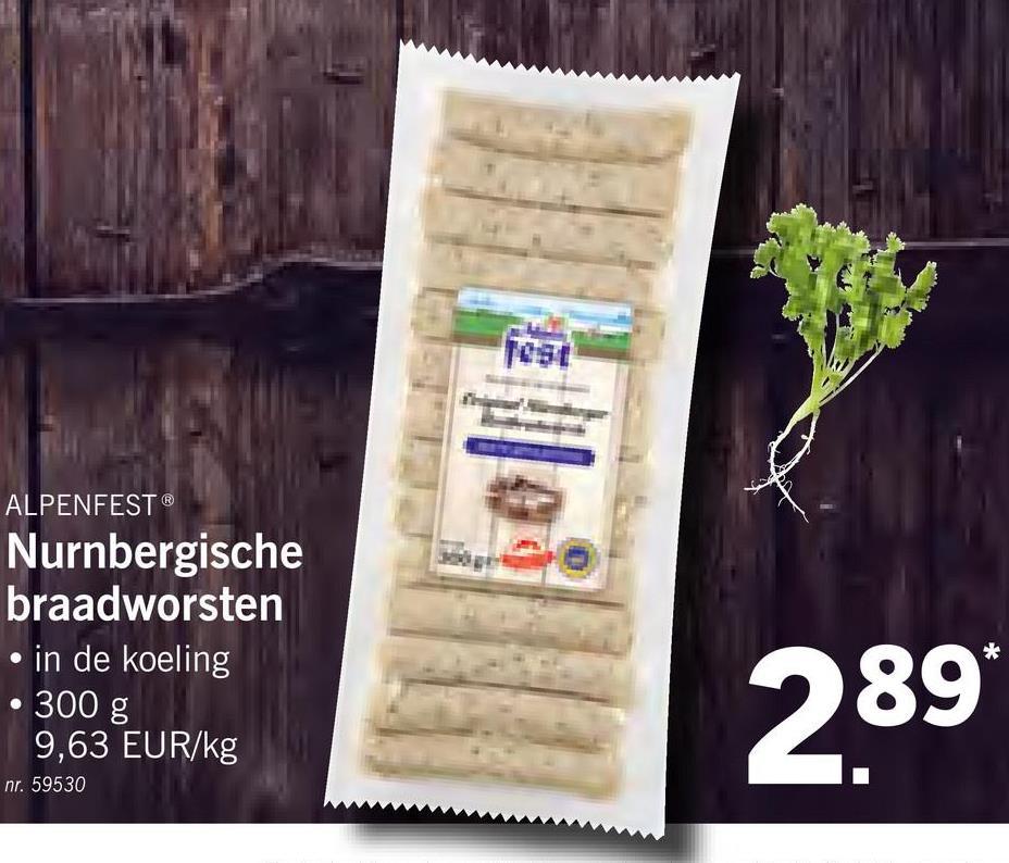ALPENFEST® Nurnbergische braadworsten • in de koeling • 300 g 9,63 EUR/kg 289 nr. 59530