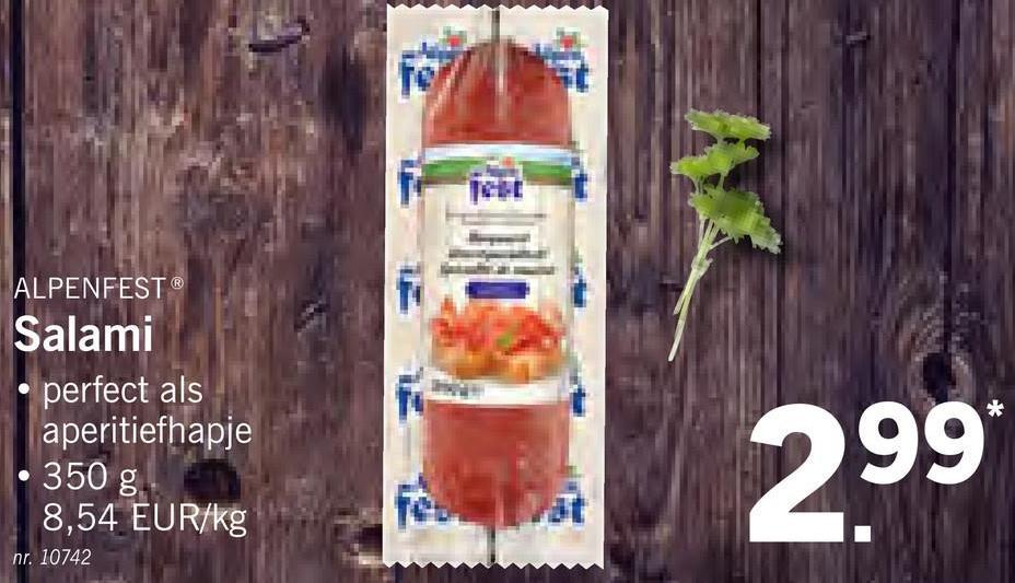 ALPENFEST Salami perfect als aperitiefhapje 350 g 8,54 EUR/kg 299 nr. 10742