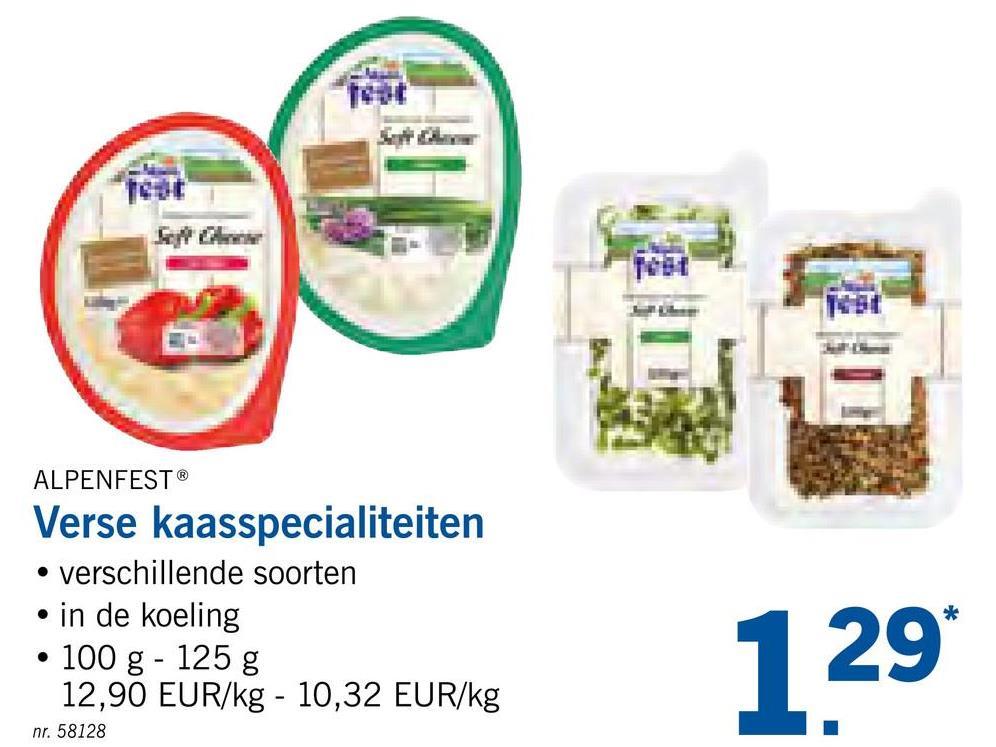 ALPENFEST® Verse kaasspecialiteiten • verschillende soorten • in de koeling • 100 g - 125 g 12,90 EUR/kg - 10,32 EUR/kg nr. 58128