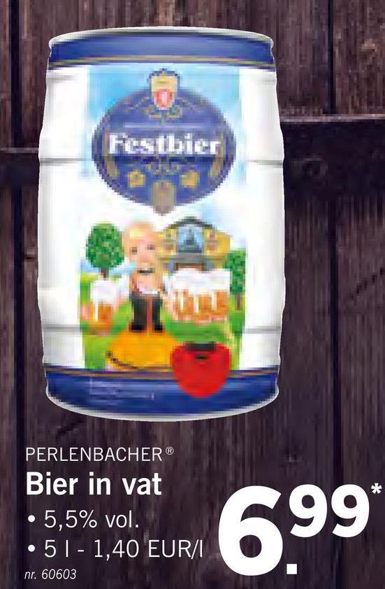 Festbier PERLENBACHER Bier in vat • 5,5% vol. •51 - 1,40 EUR/1 599* nr. 60603
