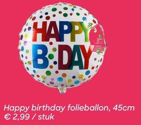 AVA selection Folieballon 43cm Happy Birthday Folieballon 43cm Happy Birthday