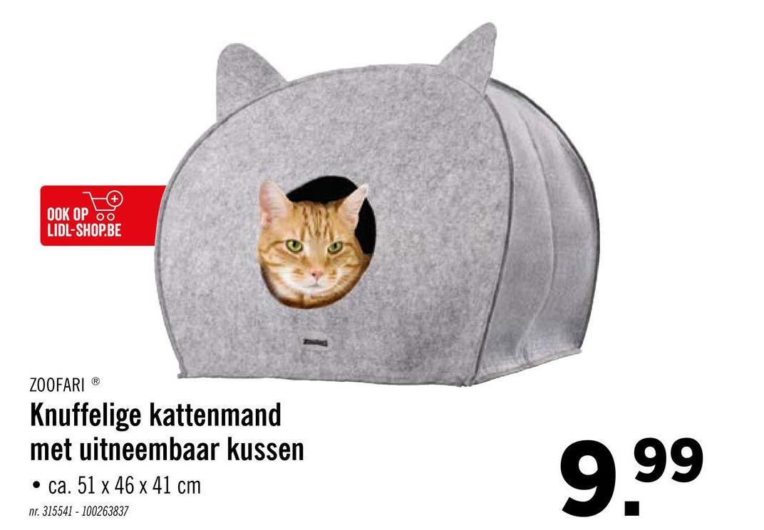 OOK OP OO LIDL-SHOP.BE ZOOFARIⓇ Knuffelige kattenmand met uitneembaar kussen • ca. 51 x 46 x 41 cm 999 nr. 315541 - 100263837