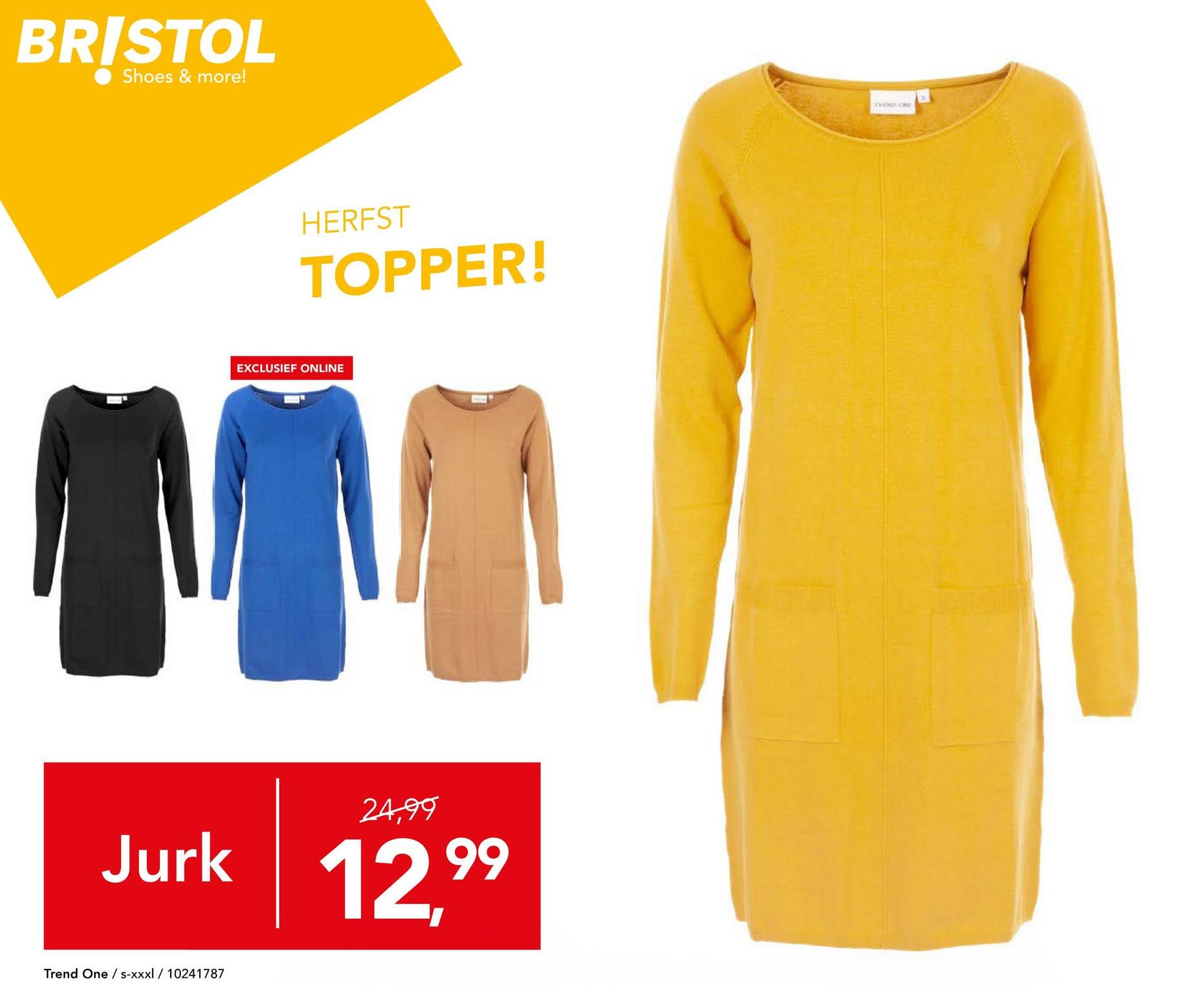 Jurk Trend One - Zwart Trendy en comfortabele jurk met lange mouwen en ronde hals van het merk Trend One voor vrouwen. Kies jouw favoriete kleur(en) nu in onze webshop.