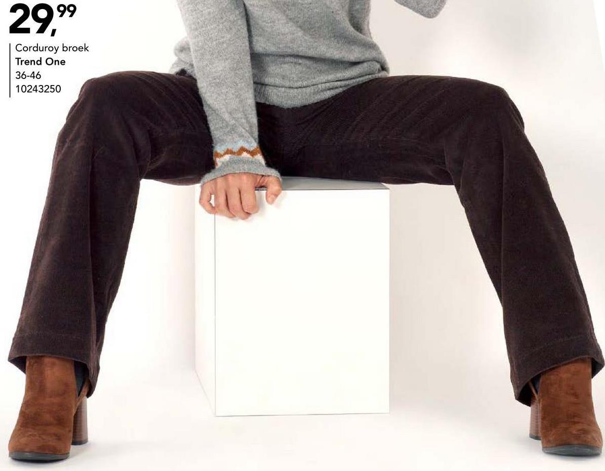 Corduroy broek Trend One - Bruin Geklede corduroy broek met haak & oogsluiting van het merk Trend One voor vrouwen. Deze bruine broek is een echte musthave voor het najaar!