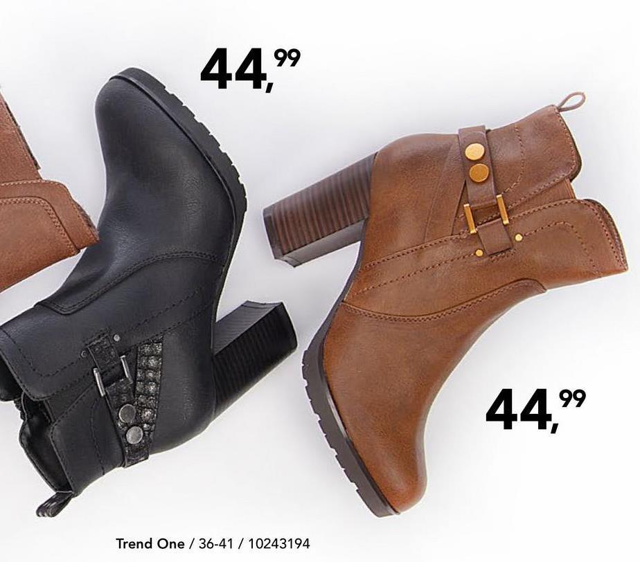 Enkellaars Trend One - Zwart Geklede enkellaars met comfortabele blokhak en decoratieve gesp van het merk Trend One voor vrouwen.