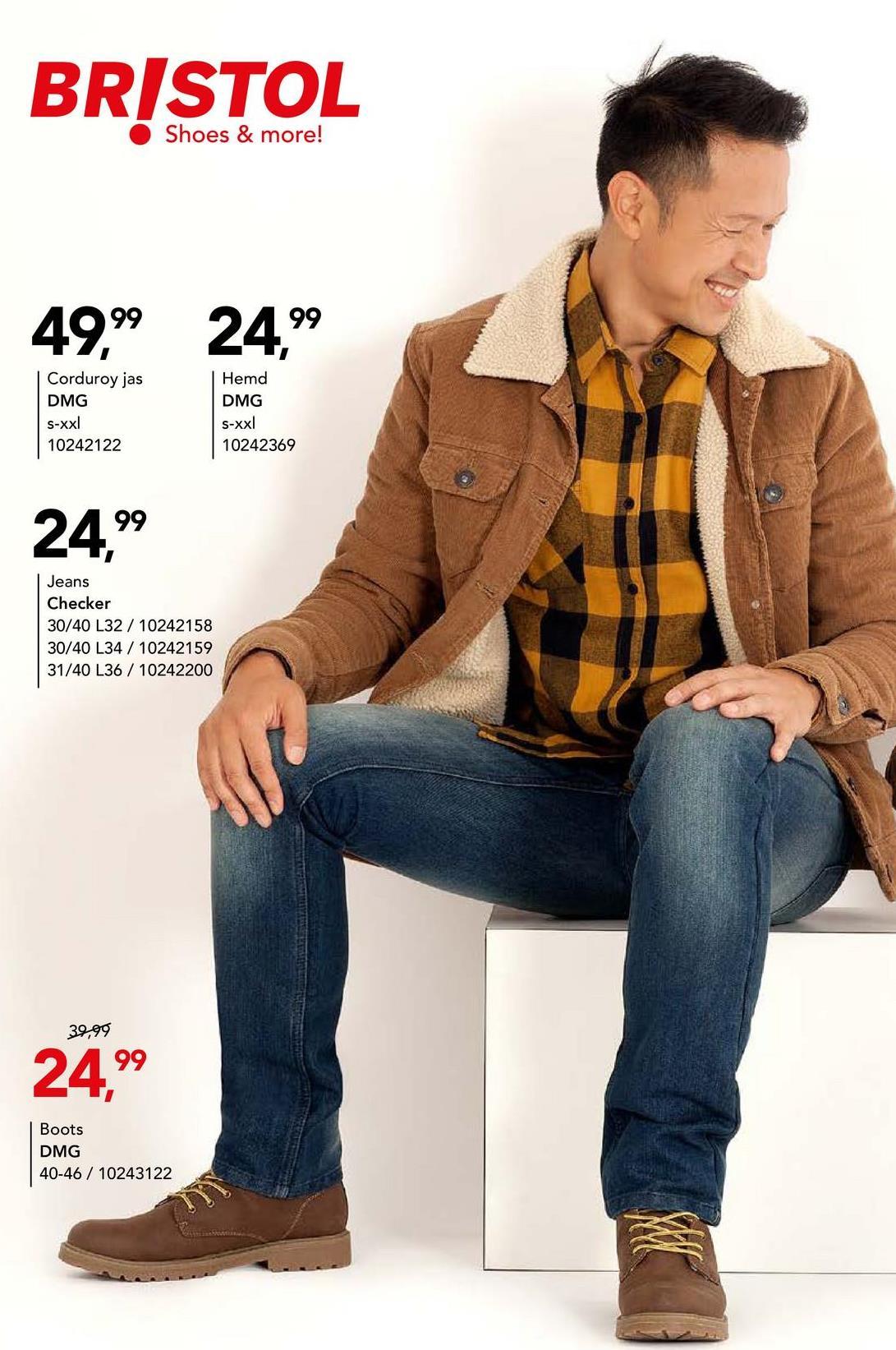 Corduroy jas DMG - Camel Casual jas met knoopssluiting en kraag van het merk DMG voor mannen. Deze corduroy jas met warme voering kan je met allerlei outfits combineren.