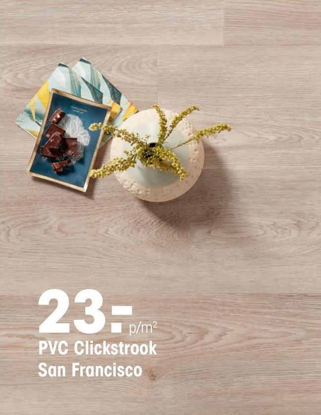 Pvc Click Strook San Francisco Licht Eiken PVC strook met licht eiken kleur en houtdessin. Geschikt voor zwaar commercieel gebruik. 5 mm dik.