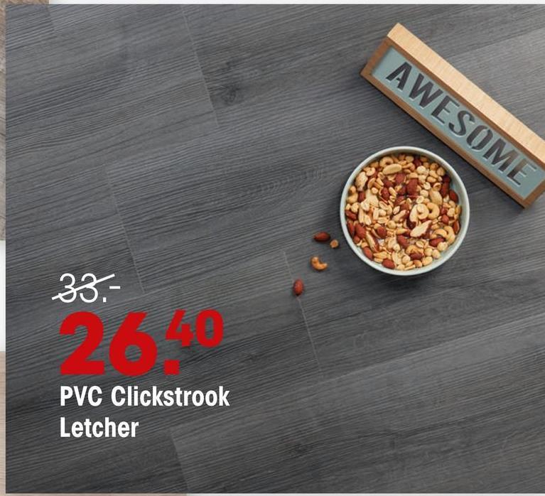 Pcv Click Strook Letcher Antraciet Eiken PVC strook met antraciet eiken kleur en houtdessin. Geschikt voor normaal woongebruik en natte ruimtes. 4.5 mm dik.