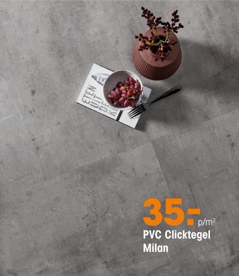 Pvc Click Tegel Milan Grijs PVC tegel met betonlook. Geschikt voor zwaar commercieel gebruik. 5 mm dik.