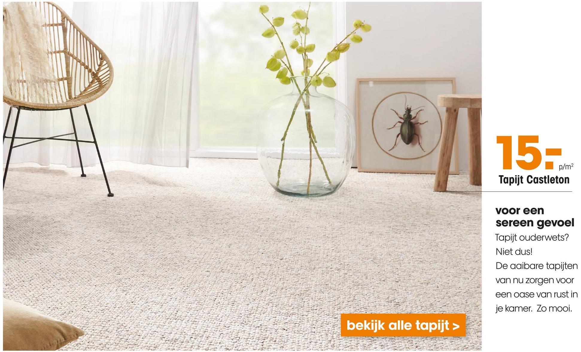 Tapijt Castleton Naturel Beige gemeleerd tapijt. Rolbreedte 400 cm.