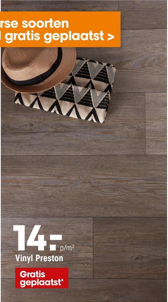 Vinyl Preston Grijs Grenen Sfeervol vinyl met grijs grenen houtdessin. Geschikt voor vloerverwarming, natte ruimtes en zwenkwielen. 2,6 mm dik.