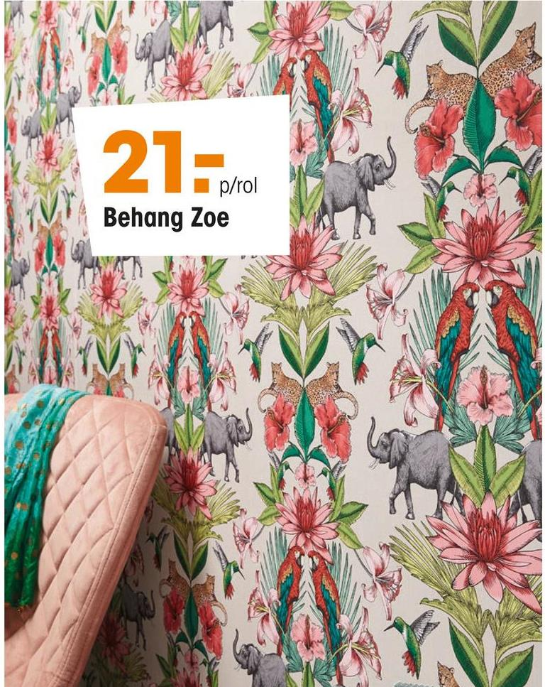 Behang Zoe Vliesbehang met fleurige print van bloemen en dieren. Voorzien van het FSC-keurmerk. Plakken met Perfax Roll-On. 10 meter per rol.