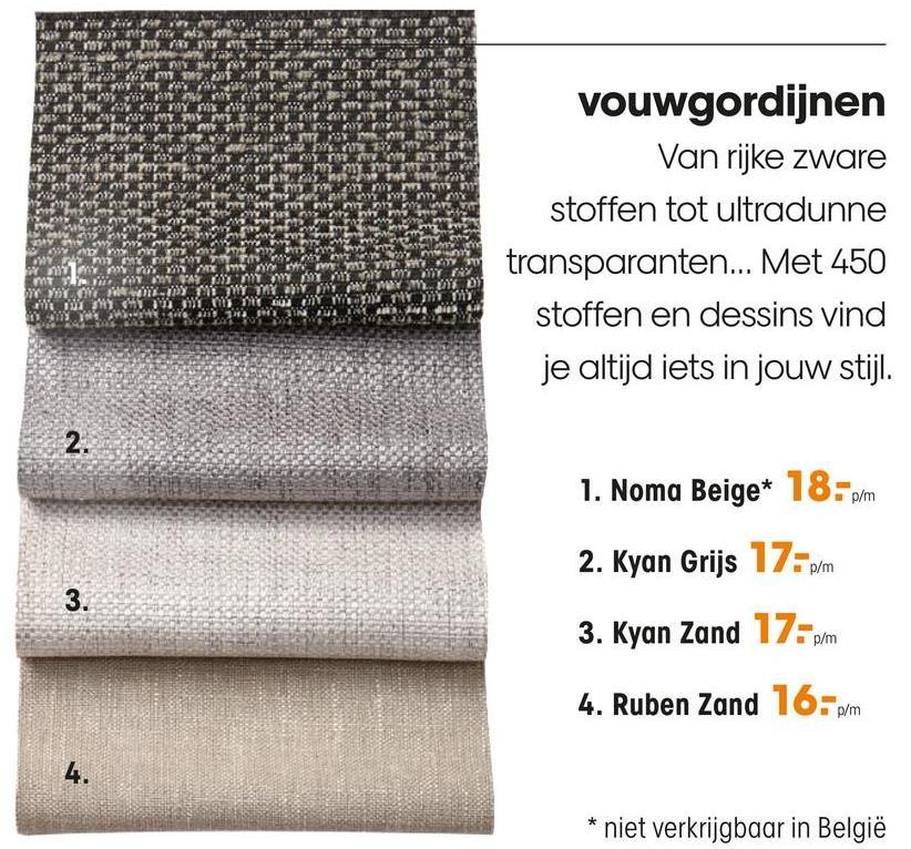 Gordijn Kyan Grijs Gordijnstof met natuurlijke grijze kleur. Soepelvallend, stevig en kreukherstellend. 142 cm breed.