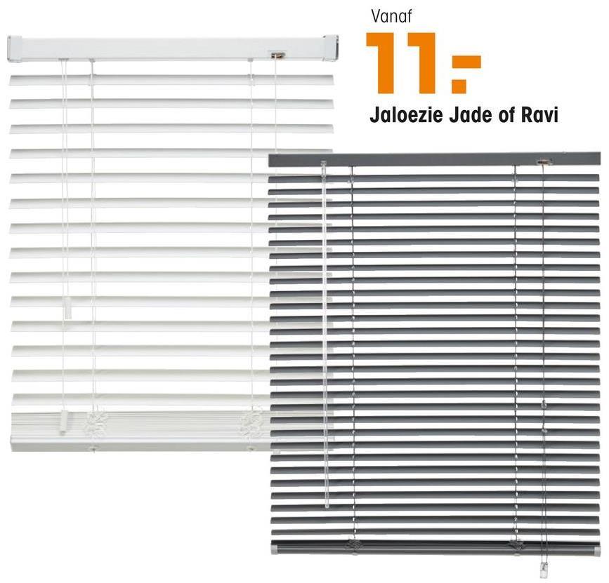 Jaloezie Jade Zilver Aluminium stroken van 25 mm. Ideaal voor het regelen van licht en privacy. Eenvoudig zelf te monteren. Met vochtige doek reinigen. Bediening aan rechterzijde. Inhoud verpakking: schroeven, pluggen, montagesteunen, kindveiligheidsclip, montagehandleiding en inkortinstructie.
