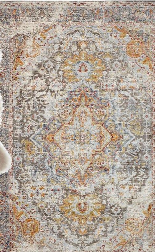Vloerkleed Franklin Vloerkleed met wereldse print en verweerde look. Warmte isolerend, slijtvast en geluiddempend. 230x160 cm (lxb).