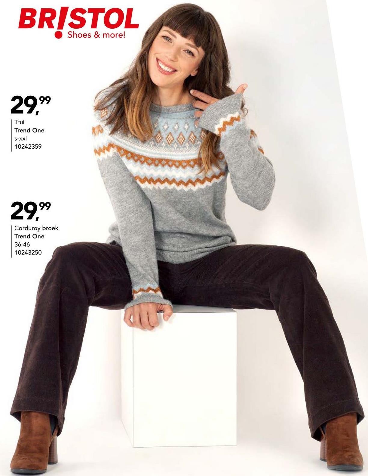 Trui Trend One - Grijs gemêleerd Trendy trui met ronde hals en leuke details van het merk Trend One voor vrouwen.