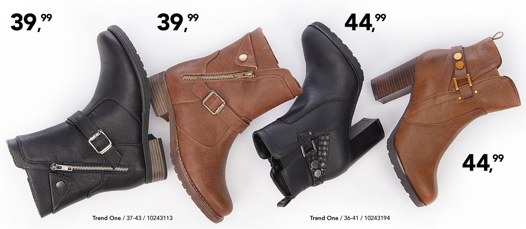 Enkellaars Trend One - Zwart Casual enkellaars met comfortabele blokhak en leuk design van het merk Trend One voor vrouwen.