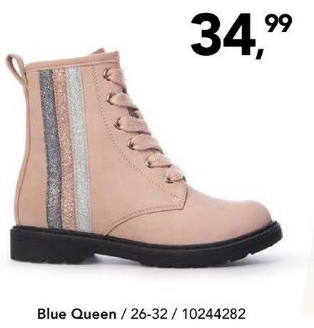 Enkellaars Blue Queen - Grijs Superleuke enkellaars met makkelijke ritssluiting en glitterdetails op de zijkant van het merk Blue Queen voor meisjes. De geribbelde schoenzool zorgt voor extra grip.