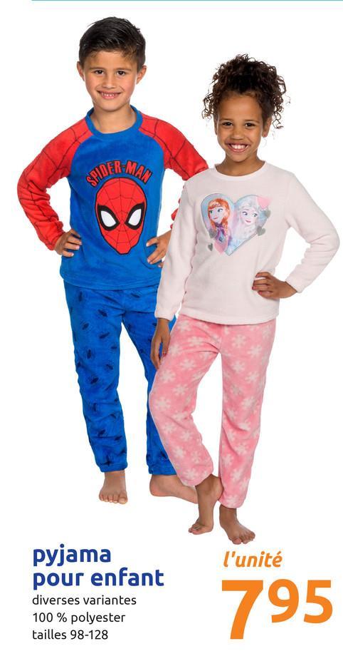 BIDERMA l'unité pyjama pour enfant diverses variantes 100% polyester tailles 98-128 795