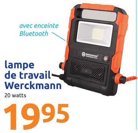 avec enceinte Bluetooth UCKMAN lampe de travail Werckmann 20 watts 1995