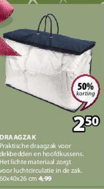 50% korting 250 DRAAGZAK Praktische draagzak voor dekbedden en hoofdkussens. Het lichte materiaal zorgt voor luchtcirculatie in de zak. 60x40x26 cm 4,99