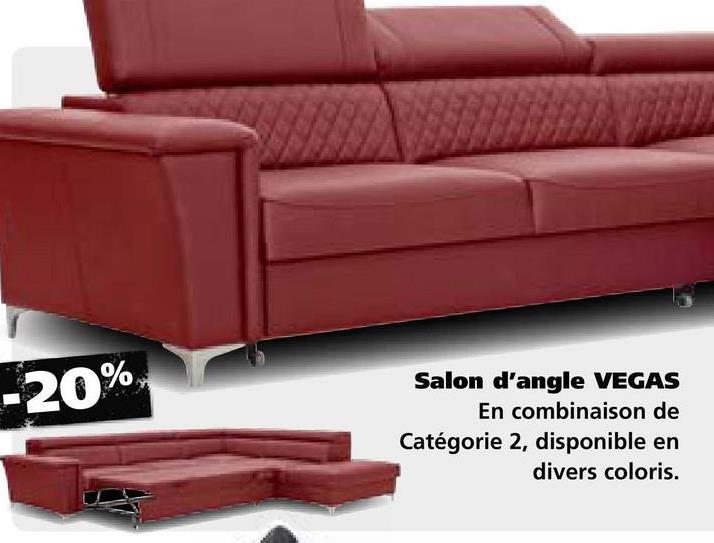 -20%, Salon d'angle VEGAS En combinaison de Catégorie 2, disponible en divers coloris.