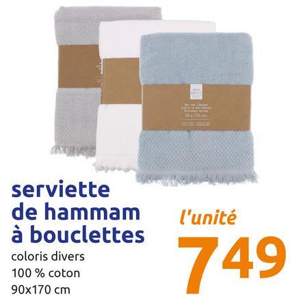 l'unité serviette de hammam à bouclettes coloris divers 100 % coton 90x170 cm 749