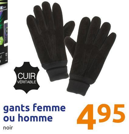 X CUIR VERITABLE gants femme ou homme gants femme 495 noir