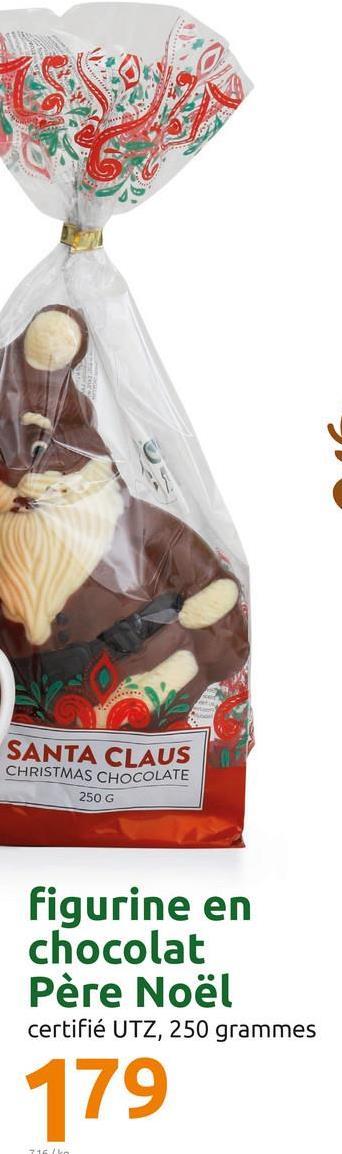 SANTA CLAUS CHRISTMAS CHOCOLATE 250 G figurine en chocolat Père Noël certifié UTZ, 250 grammes 179 21
