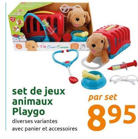 Pet Care Carrier set de jeux animaux Playgo par set 895 diverses variantes avec panier et accessoires