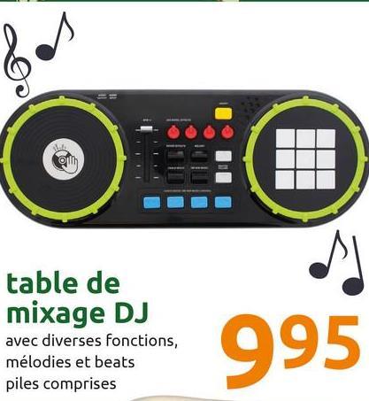 table de mixage DJ avec diverses fonctions, mélodies et beats piles comprises 995
