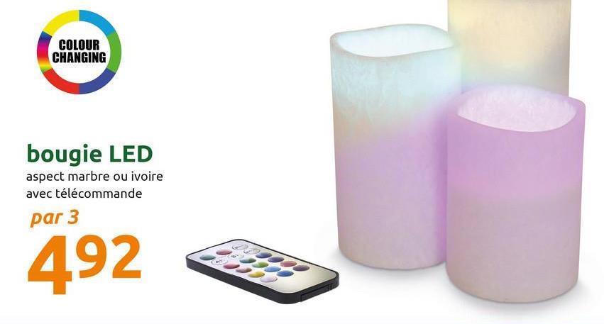 COLOUR CHANGING bougie LED aspect marbre ou ivoire avec télécommande par 3 492 3