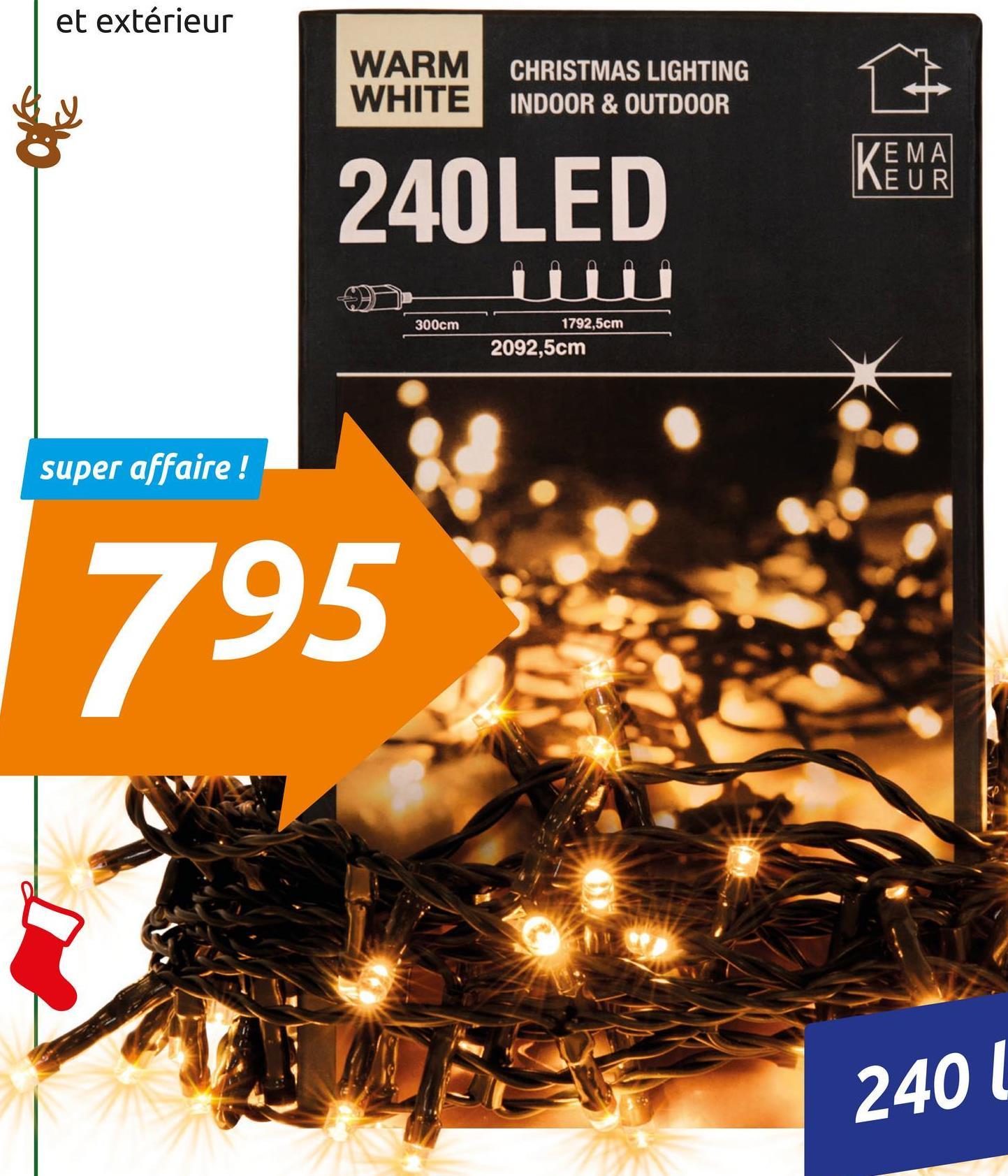et extérieur WARM WHITE CHRISTMAS LIGHTING INDOOR & OUTDOOR VEMA NEUR 240LED 300cm 1792,5cm 2092,5cm super affaire ! 795 2401