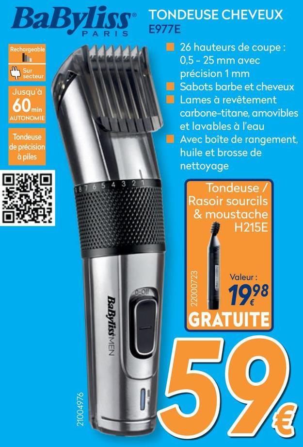 Tondeuse Carbon Steel E977E  Tondeuse avec ou sans fil dotée de la technologie de lame en carbone pour une coupe ultra professionnelle.    <u><strong>Caractéristiques:</strong></u><br> • Tondeuse cheveux<br> • 1 sabot cheveux<br> • 1 sabot barbe<br> • Avec ou sans fil<br> • Légère<br> • Recharge rapide 8 heures<br> • Autonomie 60 minutes<br> • Lames à revêtement carbone<br> • 26 hauteurs de coupe<br> • 0,5-25mm<br> • Précision 1mm<br> • Réglage par molette rotative<br> • Lames amovibles et lavables pour un nettoyage rapide<br> • Tondeuse de précision à piles<br> • Boite de rangement<br> • Brosse de nettoyage<br> • Huile<br> • Garantie : 3 ans