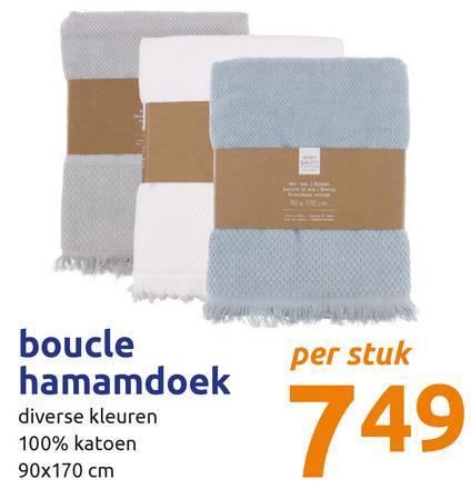per stuk wo boucle hamamdoek diverse kleuren 100% katoen 90x170 cm 749