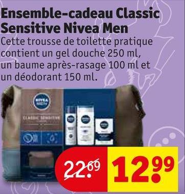 Ensemble-cadeau Classic Sensitive Nivea Men Cette trousse de toilette pratique contient un gel douche 250 ml, un baume après-rasage 100 ml et un déodorant 150 ml. 2209 1299
