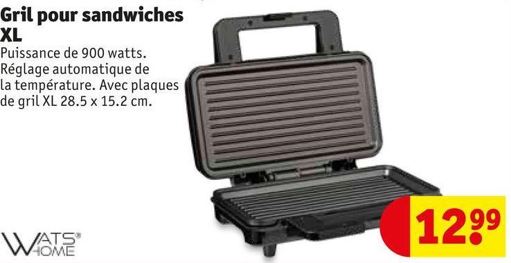 Gril pour sandwiches XL Puissance de 900 watts. Réglage automatique de la température. Avec plaques de gril XL 28.5 x 15.2 cm. 1299 WATE