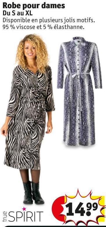 Robe pour dames Du S au XL Disponible en plusieurs jolis motifs. 95 % viscose et 5 % élasthanne. true ESPÍRIT 1499