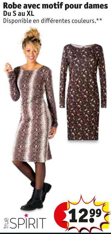 Robe avec motif pour dames Du S au XL Disponible en différentes couleurs.** 12997 true SPIRIT
