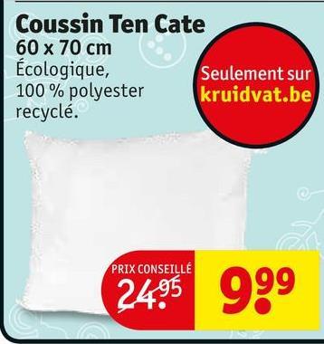 Coussin Ten Cate 60 x 70 cm Ecologique, Seulement sur 100% polyester kruidvat.be recyclé. PRIX CONSEILLÉ 2495 999